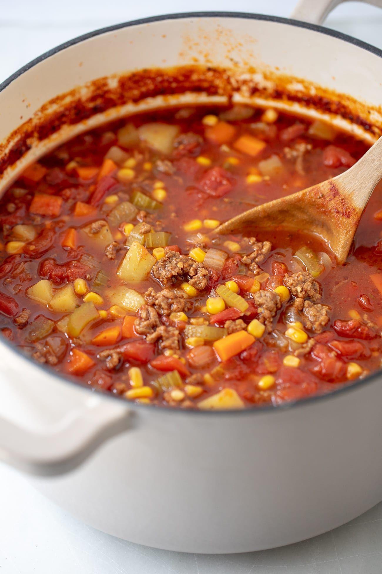 Easy Hamburger Soup Recipe Ground Beef And Vegetable Soup Recipe Easy Hamburger Soup Beef Soup Recipes Hamburger Soup