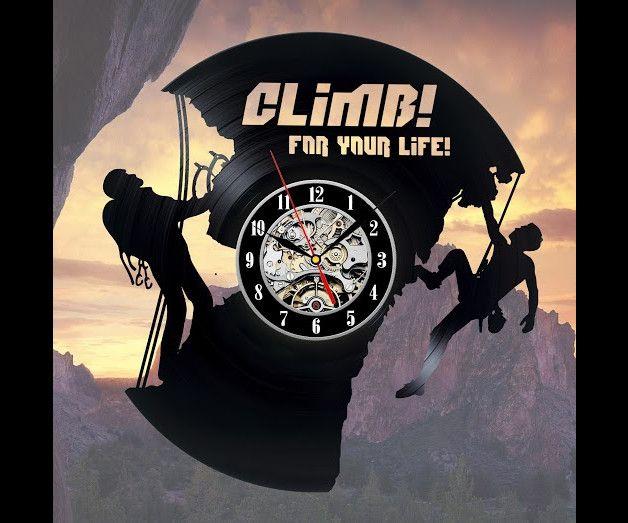 Klettern kunst vinyl schallplatte wanduhr geschenk tipps f r kletterfans klettern vinyl - Wanduhr schallplatte ...