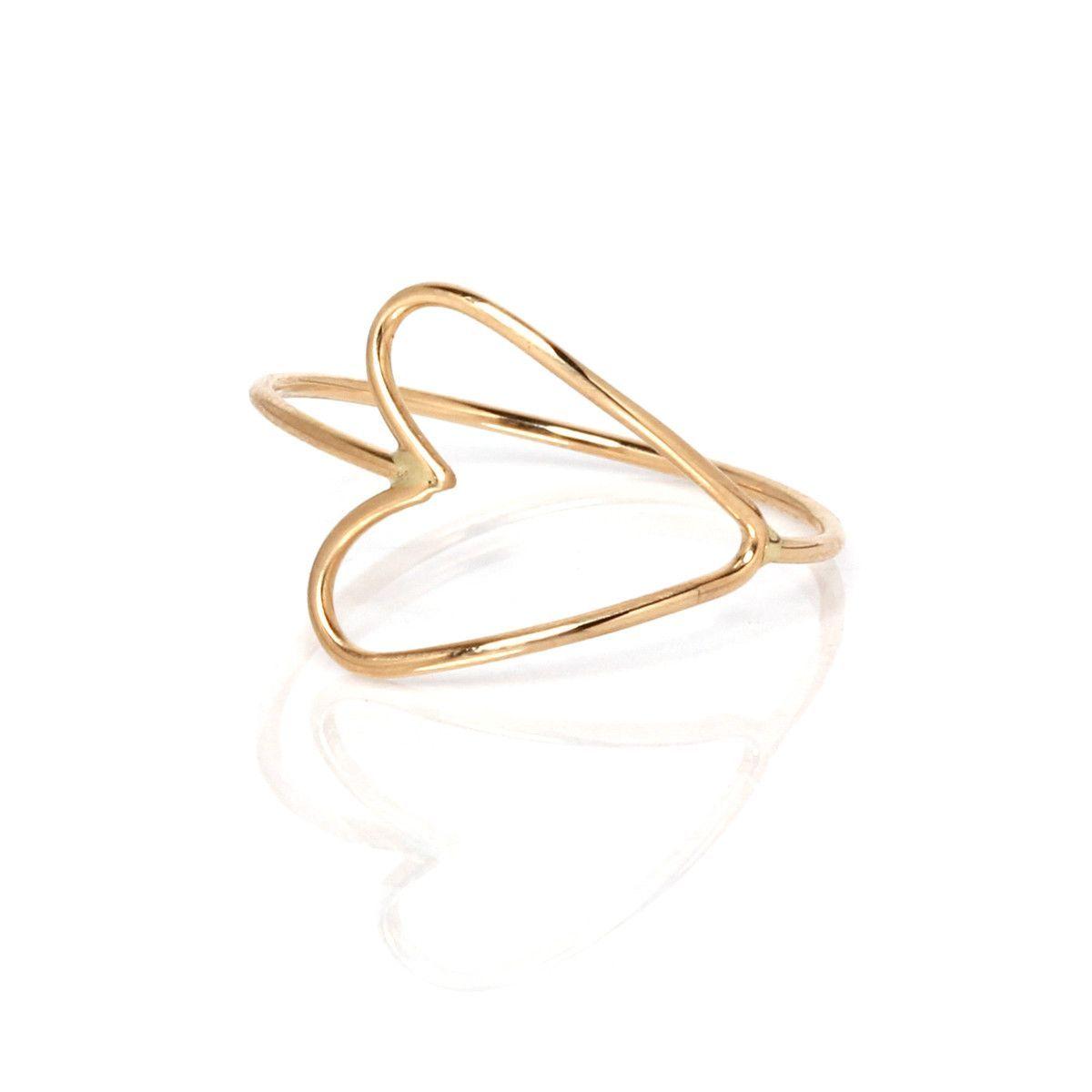 14k tiny heart outline ring