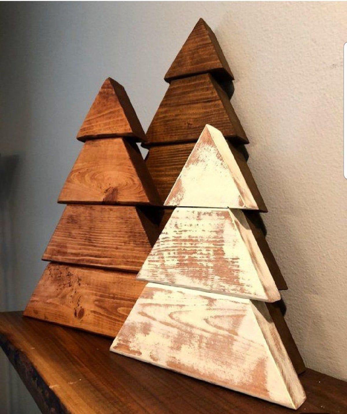 Three Piece Wooden Tree Set Christmad De