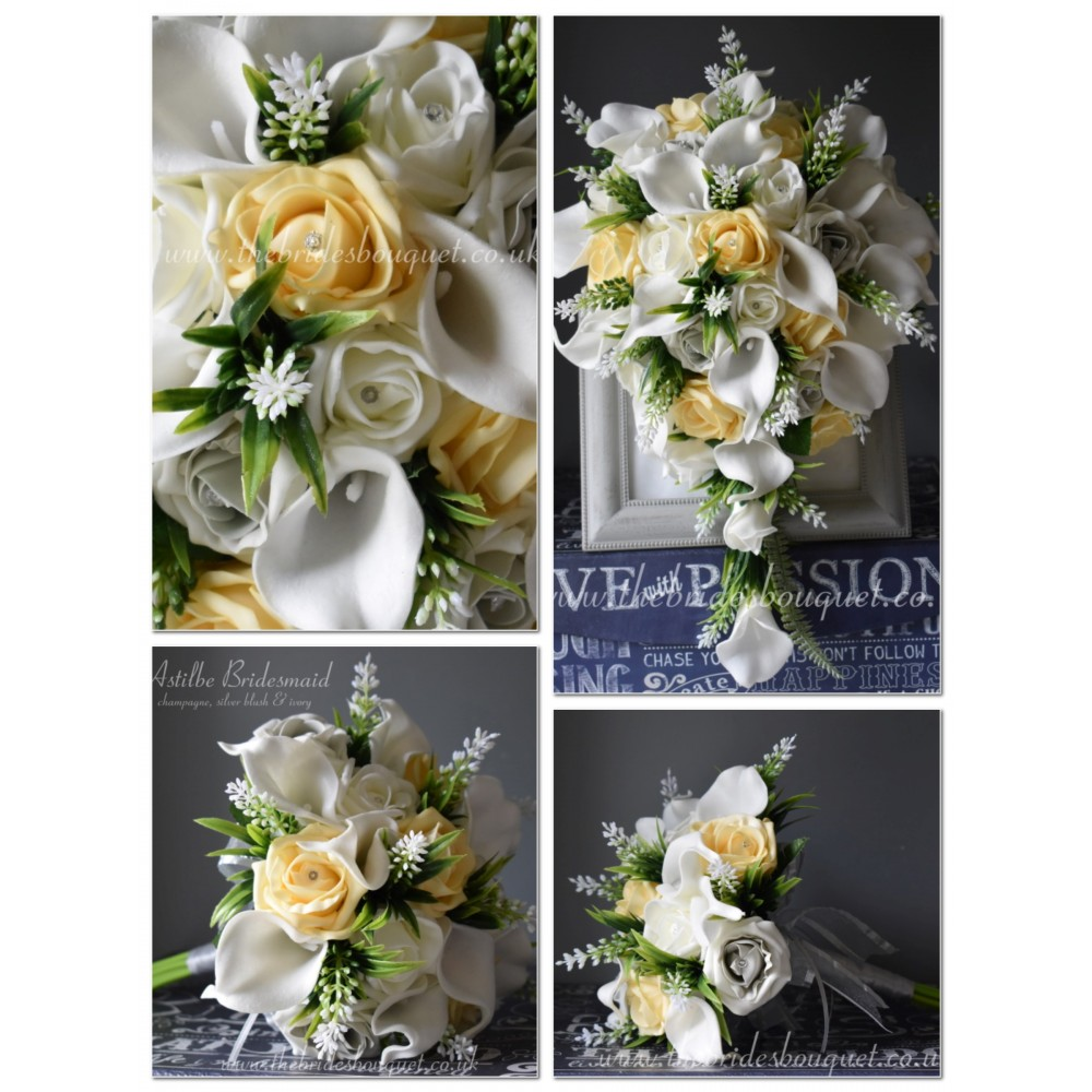 Bridal Flower Package Artificial Calla Lily Astilbe Tear 9 Piece Collection 1 Brides Tear 2 Bo In 2020 Online Wedding Flowers Flower Packaging Calla Lily Bridal