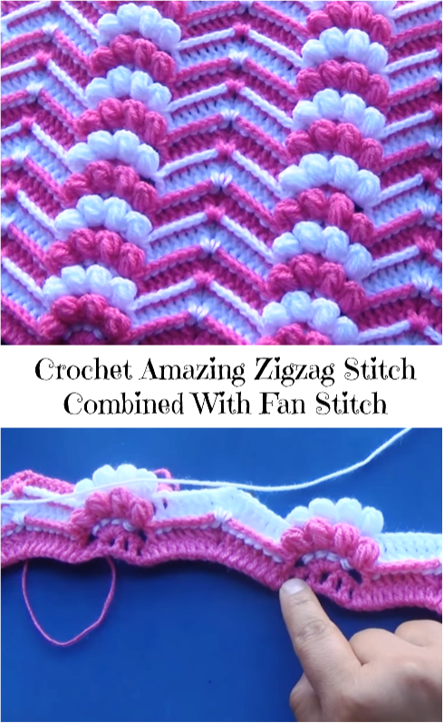 zigzag stitch combined with fan stitch | Tejido | Pinterest | Häkeln ...