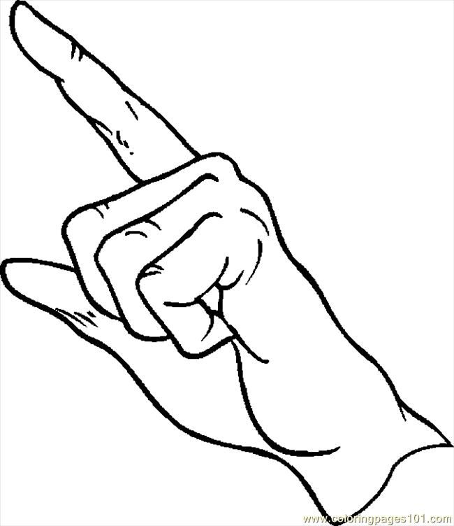 Hand Pointing Colouring Pages