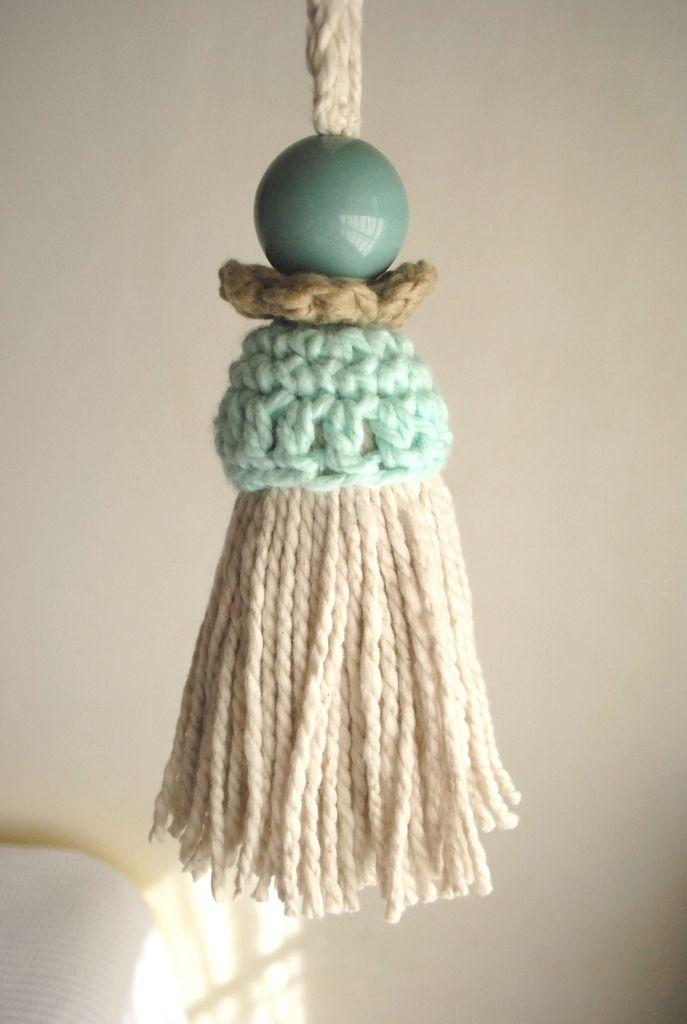 Borla con cordón para cortinas - Che María Crochet | Agarraderas de ...