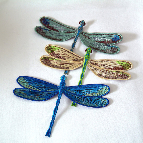 Dragonfly Embroidered Patch Blue Yellow Green Or Set The