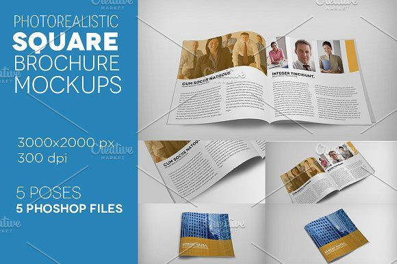 Premium Square Brochure Mockups Mock Up Brochures And Creative