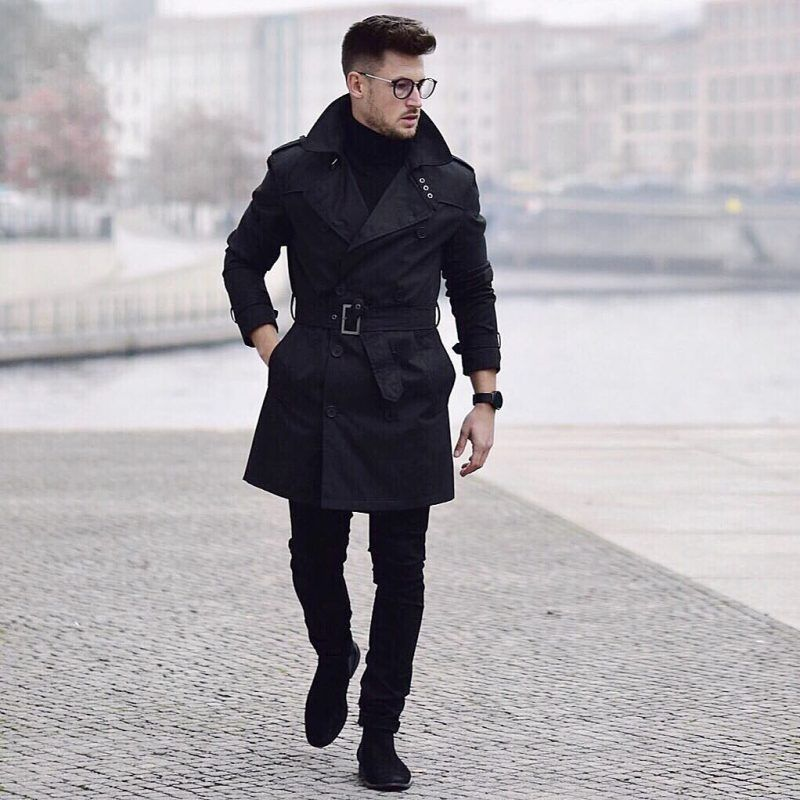 Mens Winter Fashion Black Coat Men, All Black Trench Coat Outfit