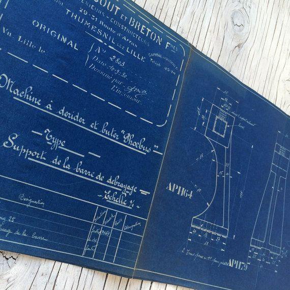 French industrial engineering blueprint circa 1930s wonderful french industrial engineering blueprint by vintagecuriosityshop malvernweather Images