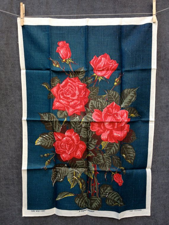 60 S Mid Century Roses Kitchen Linen Tea Towel By Elkhugsvintage