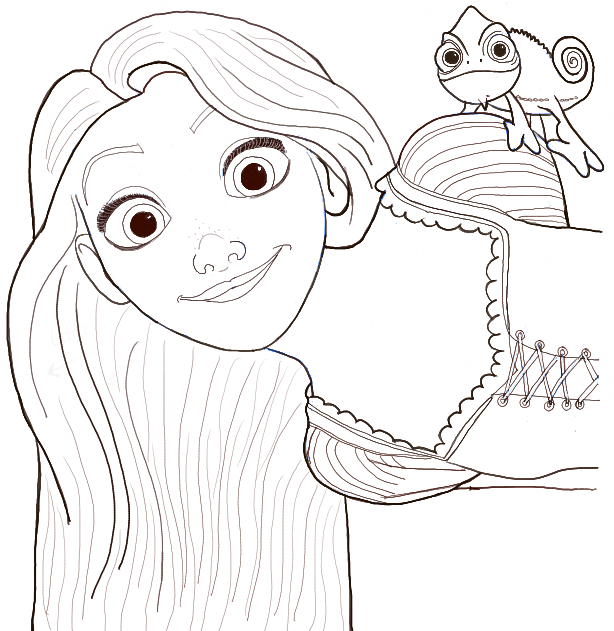 How To Draw Rapunzel And Pascal From Tangled With Easy Step By Step Tutorial How To Draw Step By Princess Drawings Disney Drawings Sketches Rapunzel Drawing