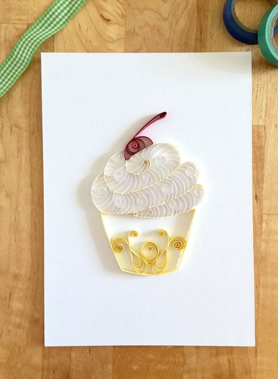 Yellow And White Cupcake Home Decor, Yellow Kitchen Decor, Quilling Paper  Cupcake Food Art