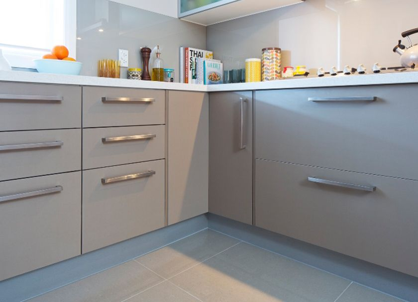 kaboodle chocanilla melamine doors and panels in modern profile frosted glass doors almond on kaboodle kitchen enoki id=47162