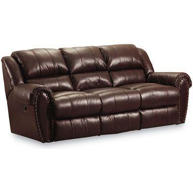 Lane Furniture Steve Double Reclining Top Grain Leather Power Sofa