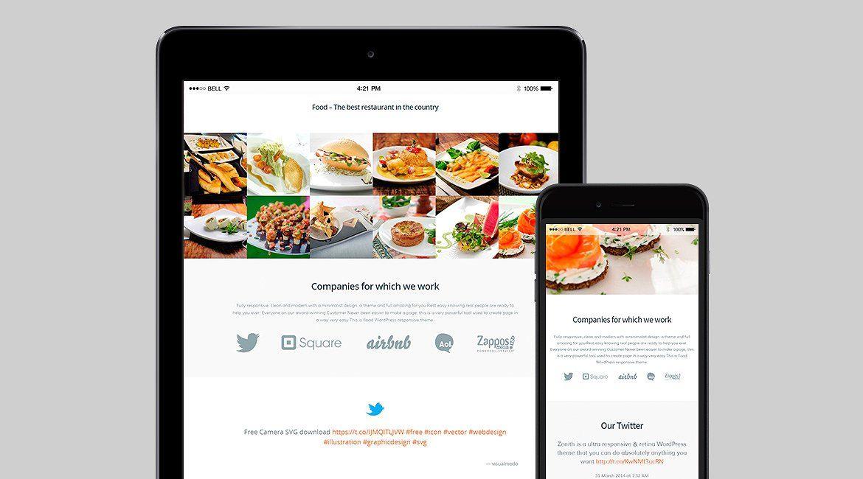 Food WordPress Theme Responsive Restaurant Template by