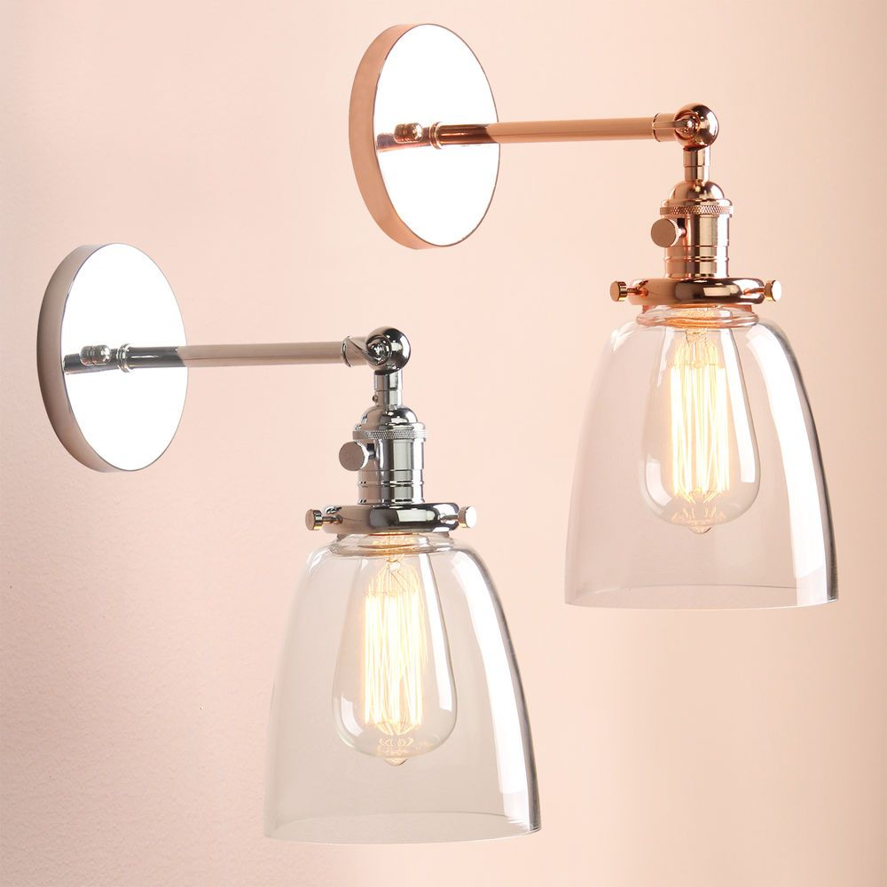 Industial vintage wall light sconce lamp glass shade edison filament industia vintage wall light sconce lamp glass shade edison filament lighting in home furniture arubaitofo Choice Image