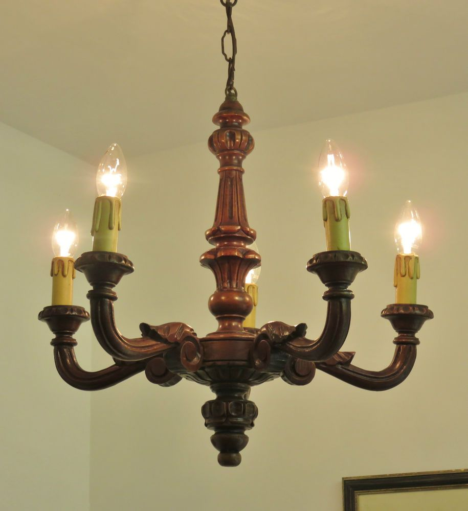 Antique vintage french carved wooden 4 light chandelier gothic ...