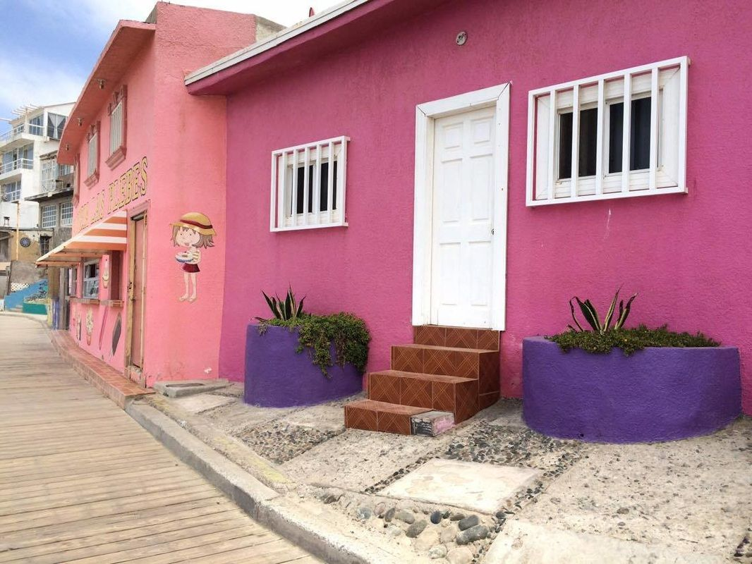 Pink and colorful houses in Playas de Tijuana, Mexico http ...