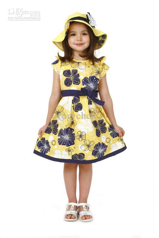 a7d49ca4d20b New Girls dress Teenage dress Yellow with flower frock 5 sizes for ...
