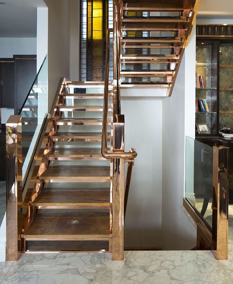 Amazing cooper metal and glass stairs- Katherine Pooley