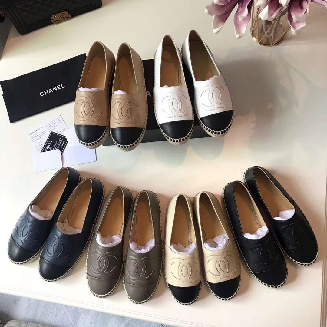 Chanel shoes flats, Leather espadrilles