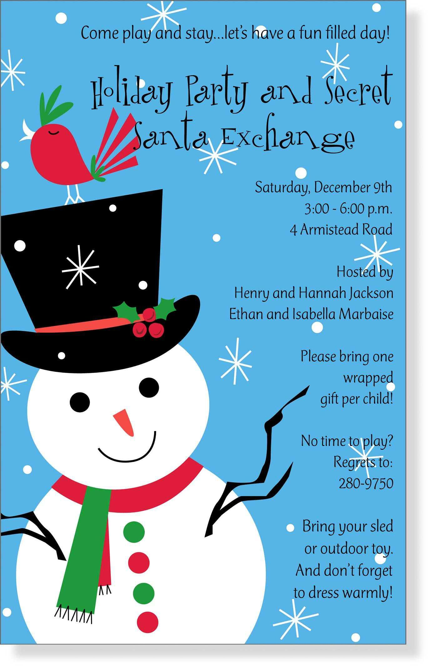 Christmas Party Invitation Wording Ideas Snowman Party Pinterest