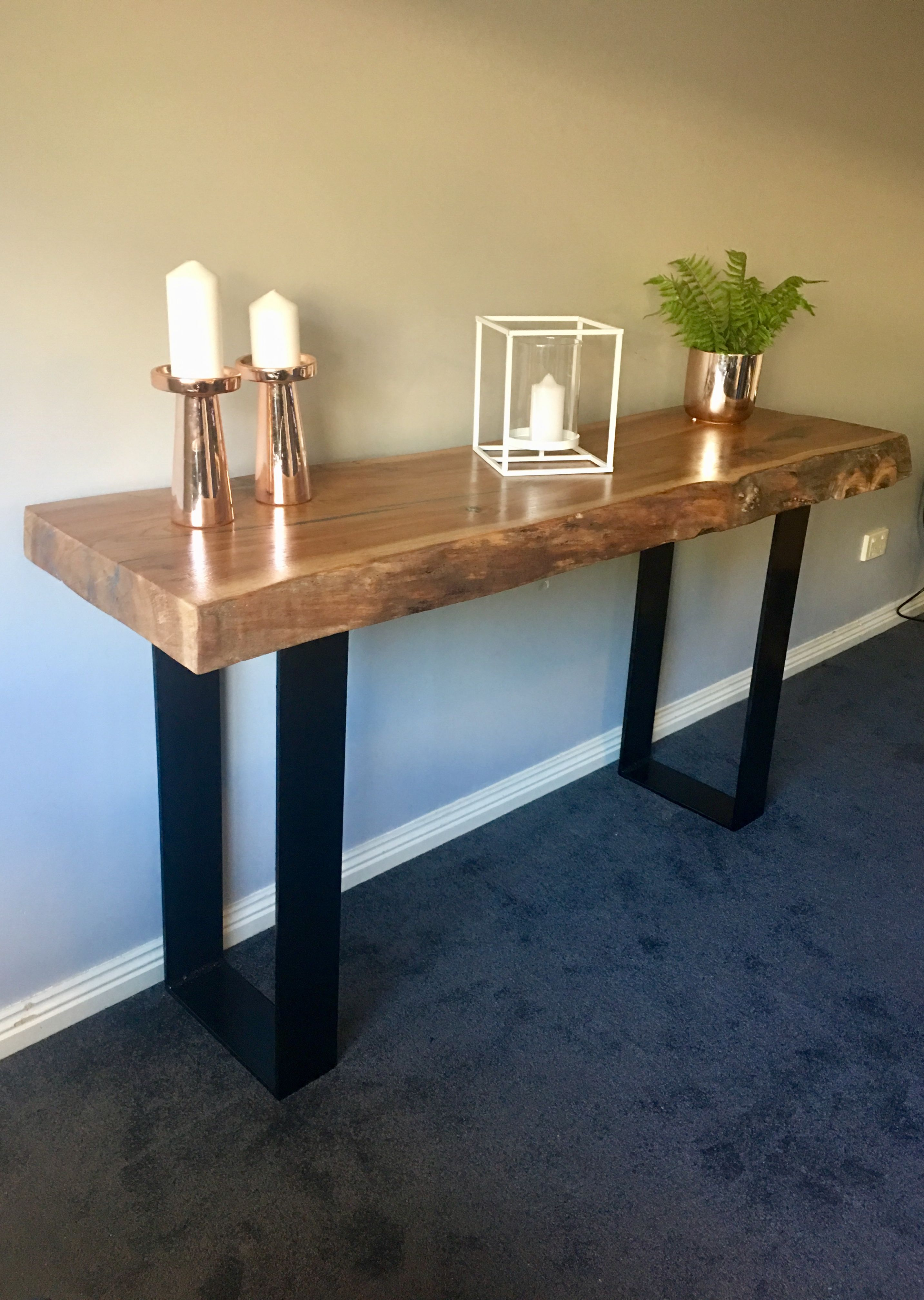 Elm Slab Hall Console With Black Flat Bar Metal Legs Made By Www Recycledtimberfurnitureoz Com Dinning Table Rustic Hall Table Rustic Bar Stools