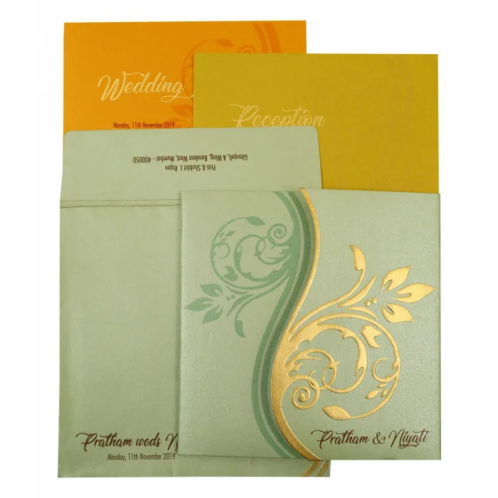 Pista Green Shimmery Floral Themed Embossed Wedding Invitation C 1901 Embossed Wedding Invitations Fun Wedding Invitations Christian Wedding Cards