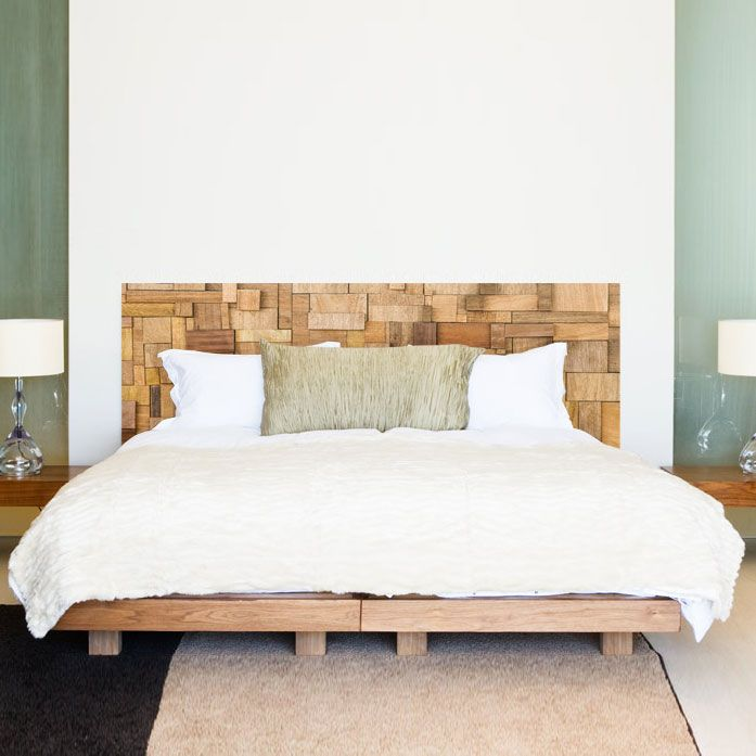 Stickers muraux : Sticker tête de lit bois Patchwork - Décoration ...