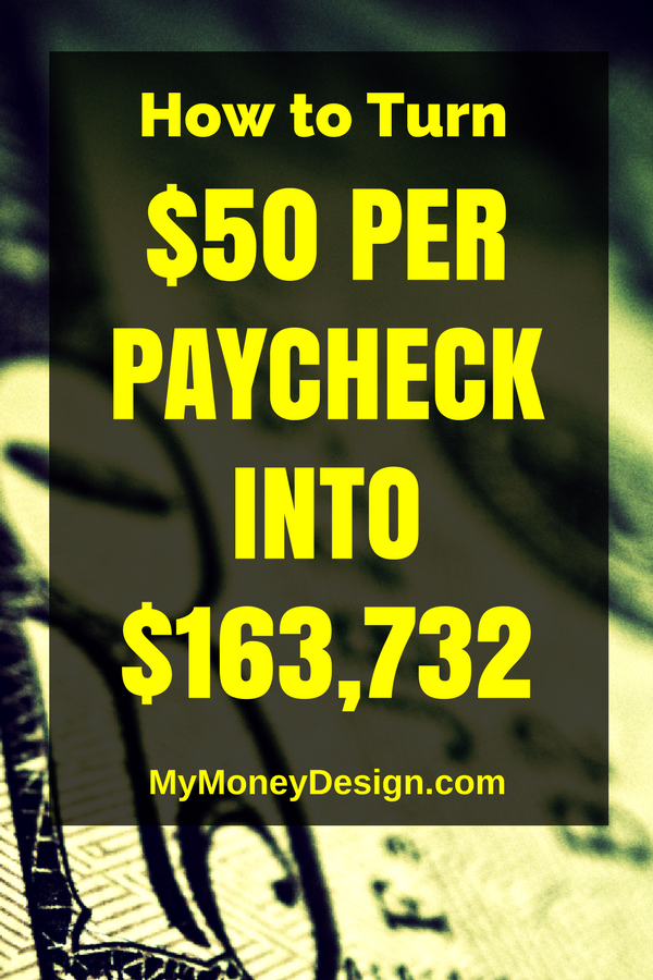 How To Turn 50 Dollars Per Paycheck Into 163 732 Ways To Save Money Saving Money How To Plan