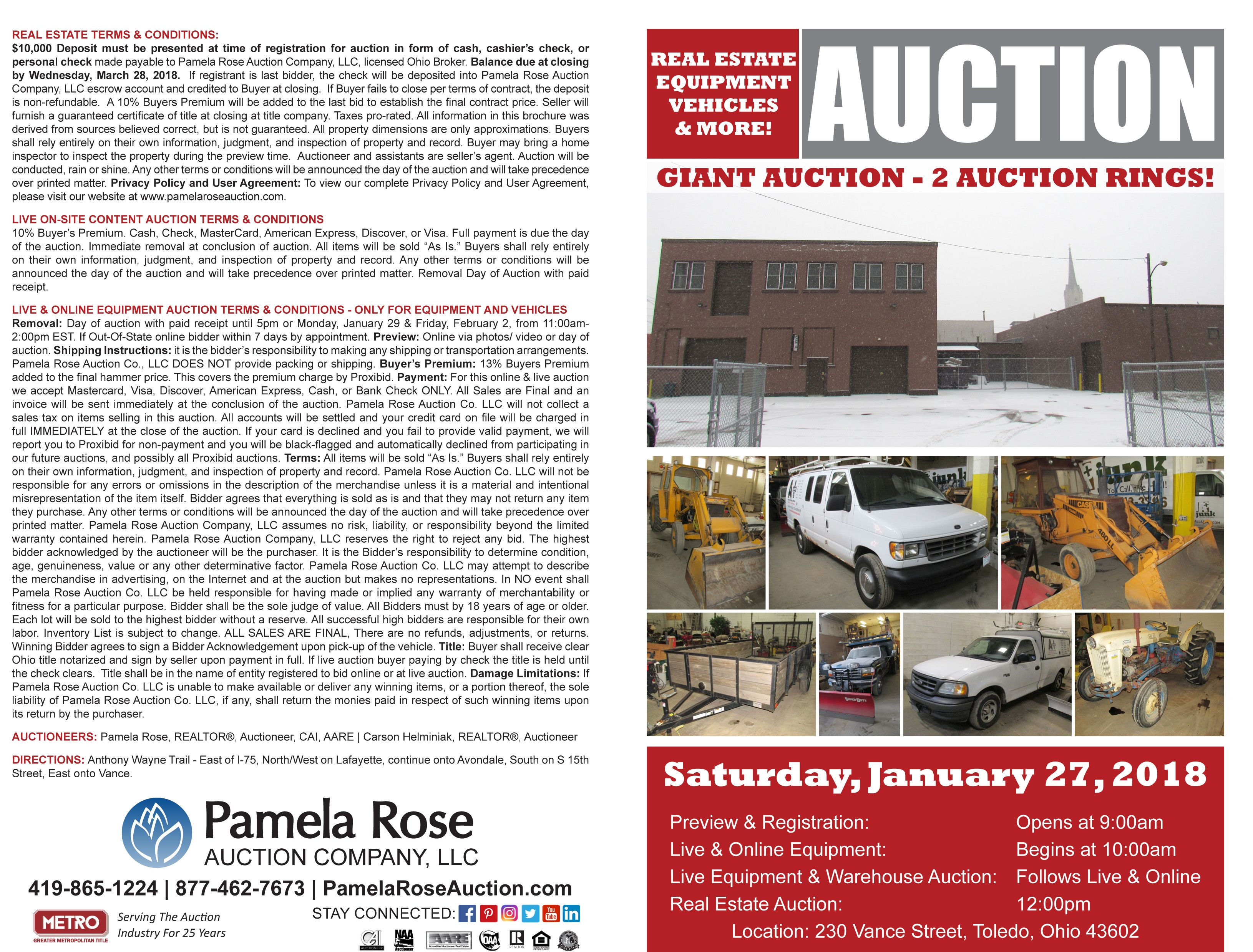 Downtown Commercial Warehouse at Auction – Building and Equipment! 214 and 230 Vance Street, Toledo, Ohio 43604 on Saturday, January 27, 2018. Warehouse Auction at 12 pm! Impeccable 21,900+/- SF building at Minimum Bid $90,000! Prime location near downtown Toledo off I-75 and AW Trail. Two connected buildings, large office, multiple bays for storage, mechanics bay, loading with multiple overhead doors, and fenced in parking between buildings. Large Equipment and Vehicle Auction at 10 am.