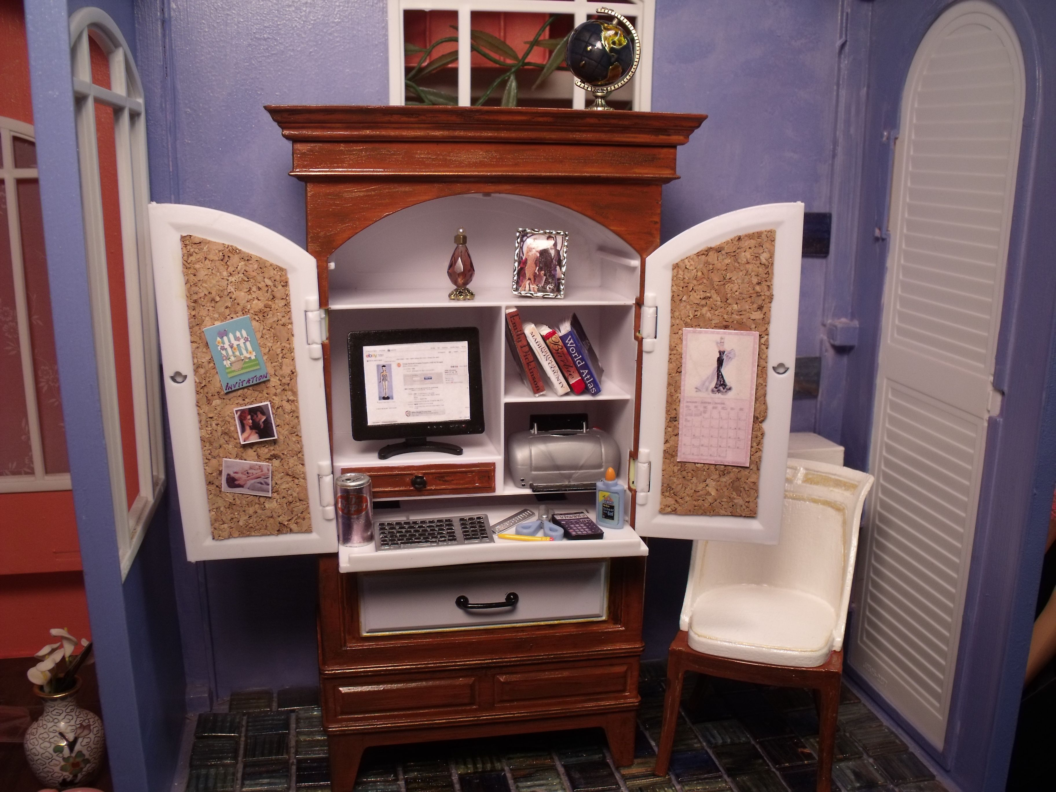 barbie doll computer hutch office furniture created by chanikava doll house diorama dollhouse. Black Bedroom Furniture Sets. Home Design Ideas