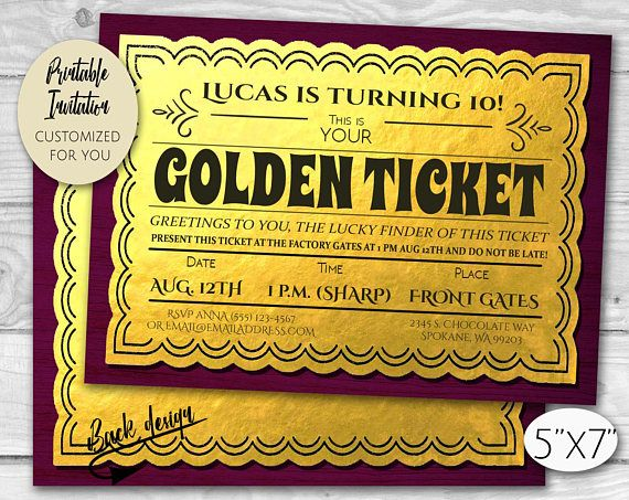 Golden Ticket Chocolate Factory Birthday Party Invitation Etsy Golden Ticket Invitations Birthday Party Invitations Invitation Template Free