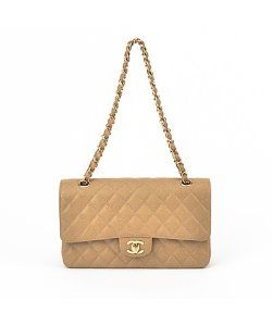 Chanel Beige Quilted Caviar Medium Flap Bag