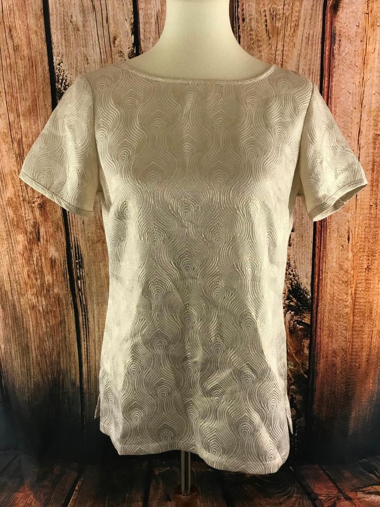The Limited Womens Blouse Size Small Gold Metalic Short Sleeve Top