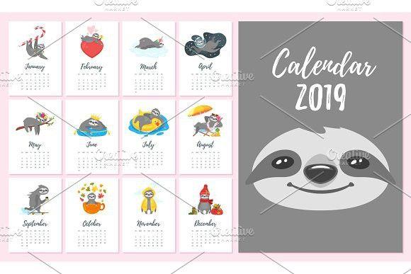 2019 year monthly sloth calendar Calendar Templates Pinterest