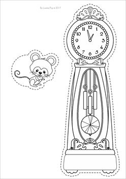 hickory dickory dock coloring page - hickory dickory dock nursery rhyme worksheets and