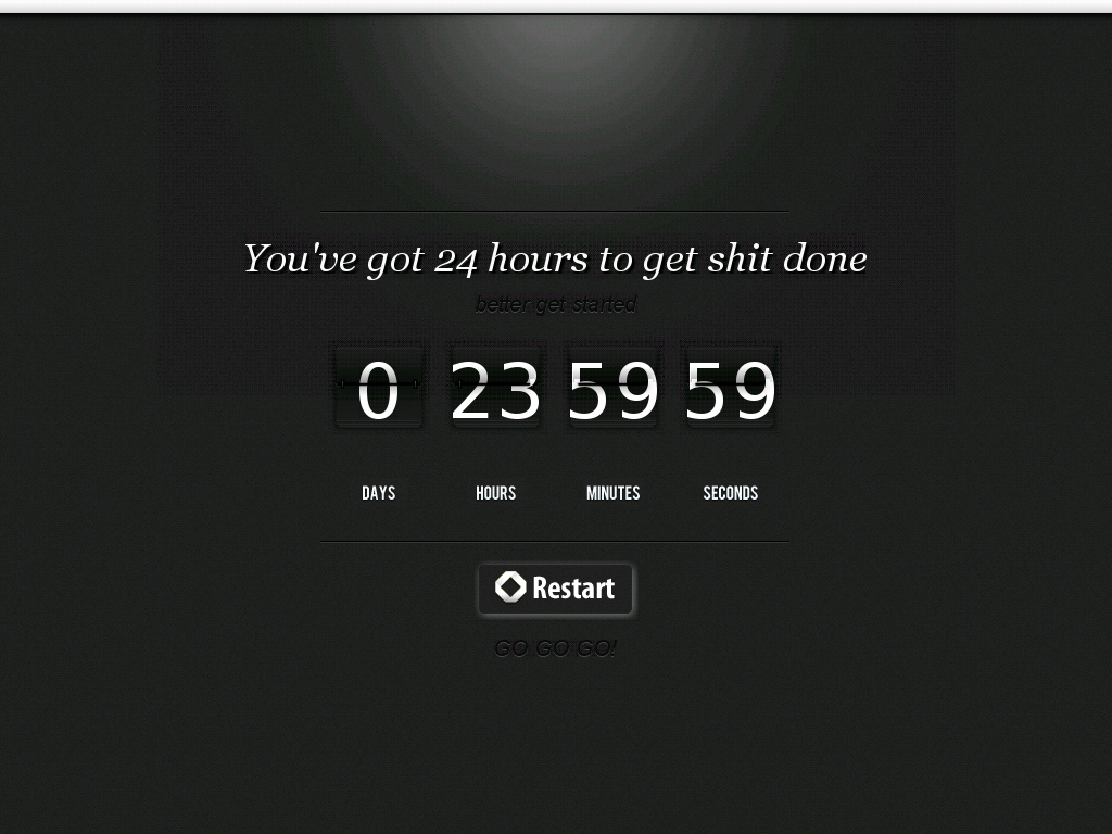 This Timer app by Eugene Baumstein is essentially a 24-hour