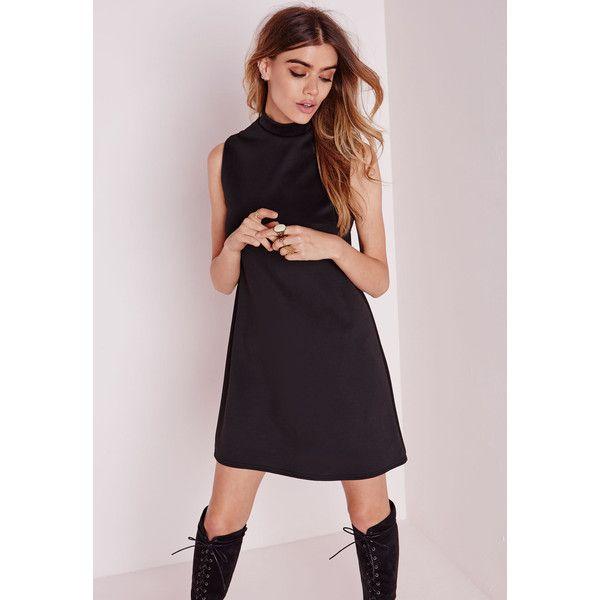 Missguided High Neck Sleeveless Scuba Shift Dress Black 30