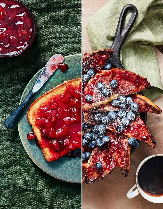 Plum, rum and citron preserves on toast (left) and Jammy skillet-baked french toast (right).