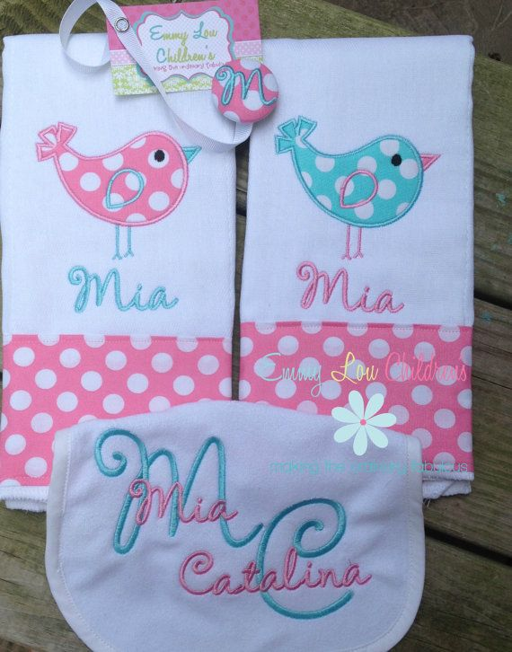 Baby Gift Set - Set of Two Burp Cloths, Pacifier Clip and ...