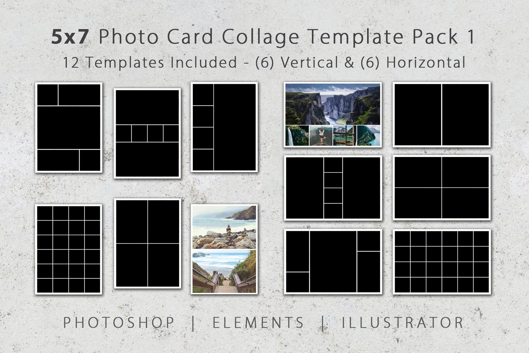 5x7 Photo Card Collage Template Pack Collage Template Photo Collage Template Photo Card Template