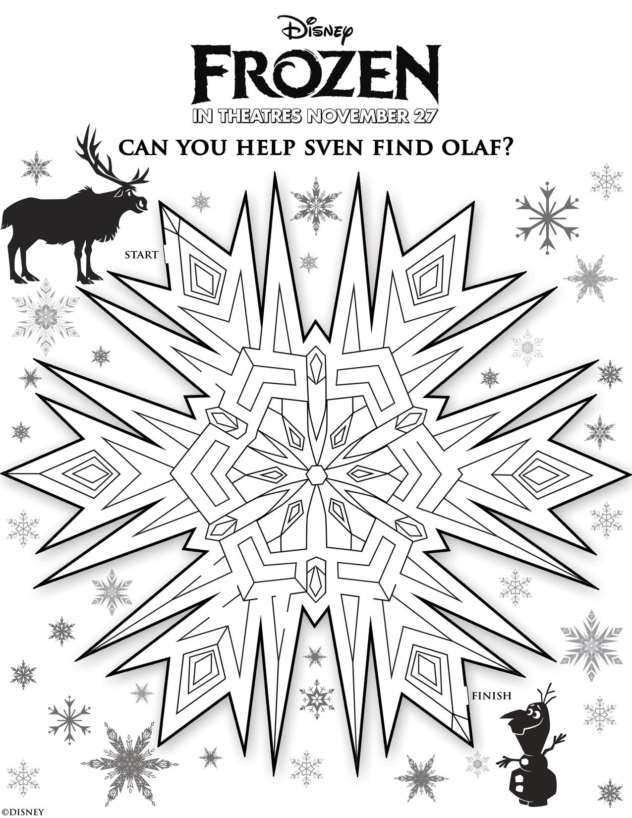 DisneyFrozen awesome activity sheets including mazes, a memory card ...