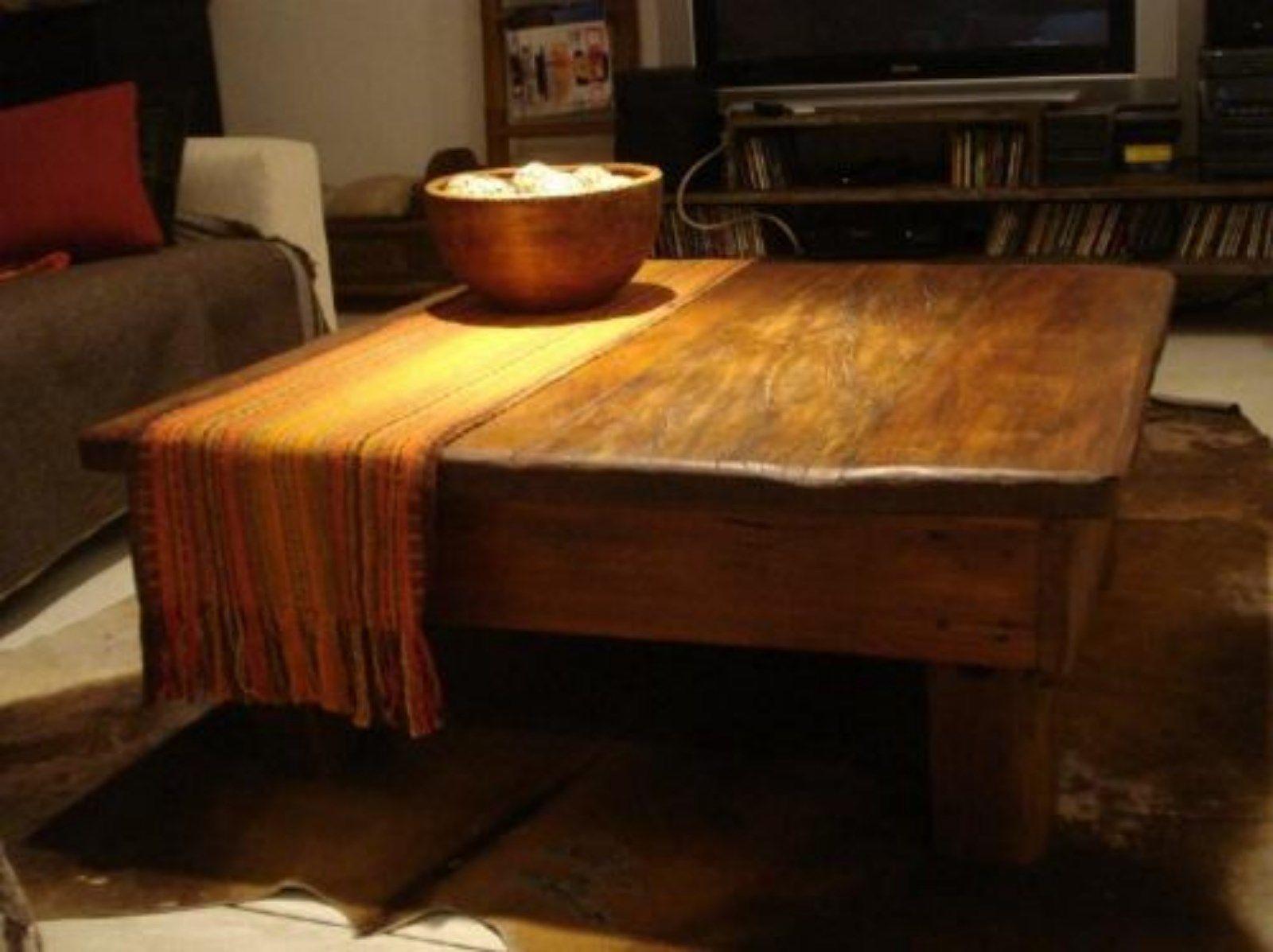 Mesa ratona con madera de pino oregon en la tapa espesor - Mesa madera pino ...
