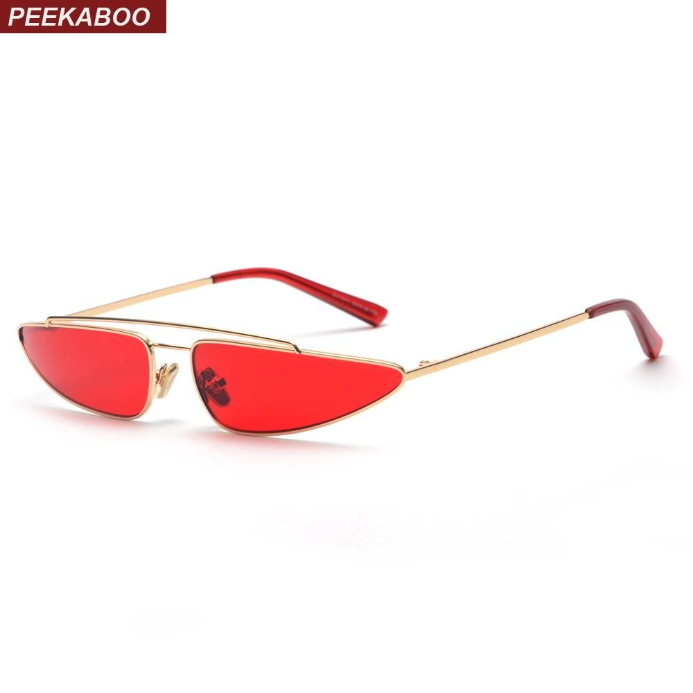 bbcc735308 Peekaboo red triangle sunglasses women cat eye small frame metal yellow pink  fashion vintage retro sun