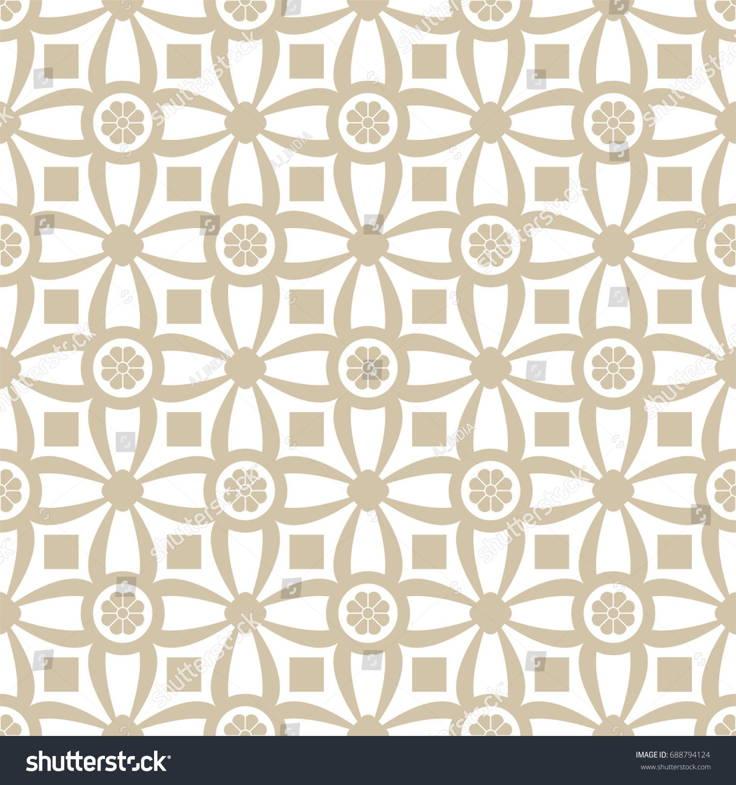 Seamless Abstract Floral Pattern Gold And White Geometric Ornament Background