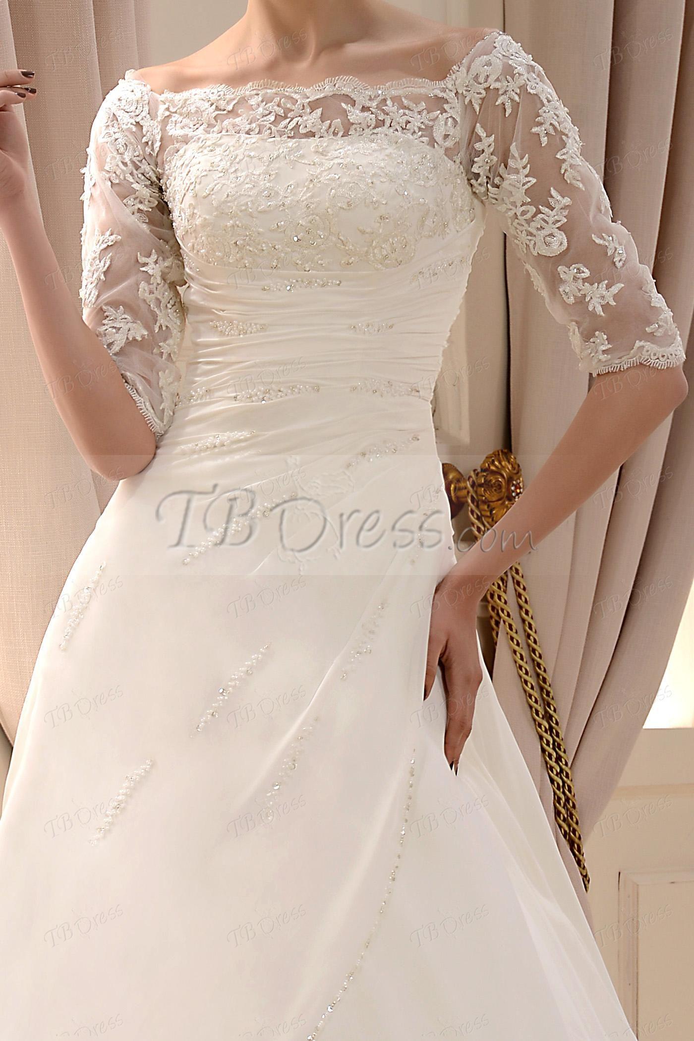 Fashion ALine/Princess Off the Shoulder Half Lace Sleeves