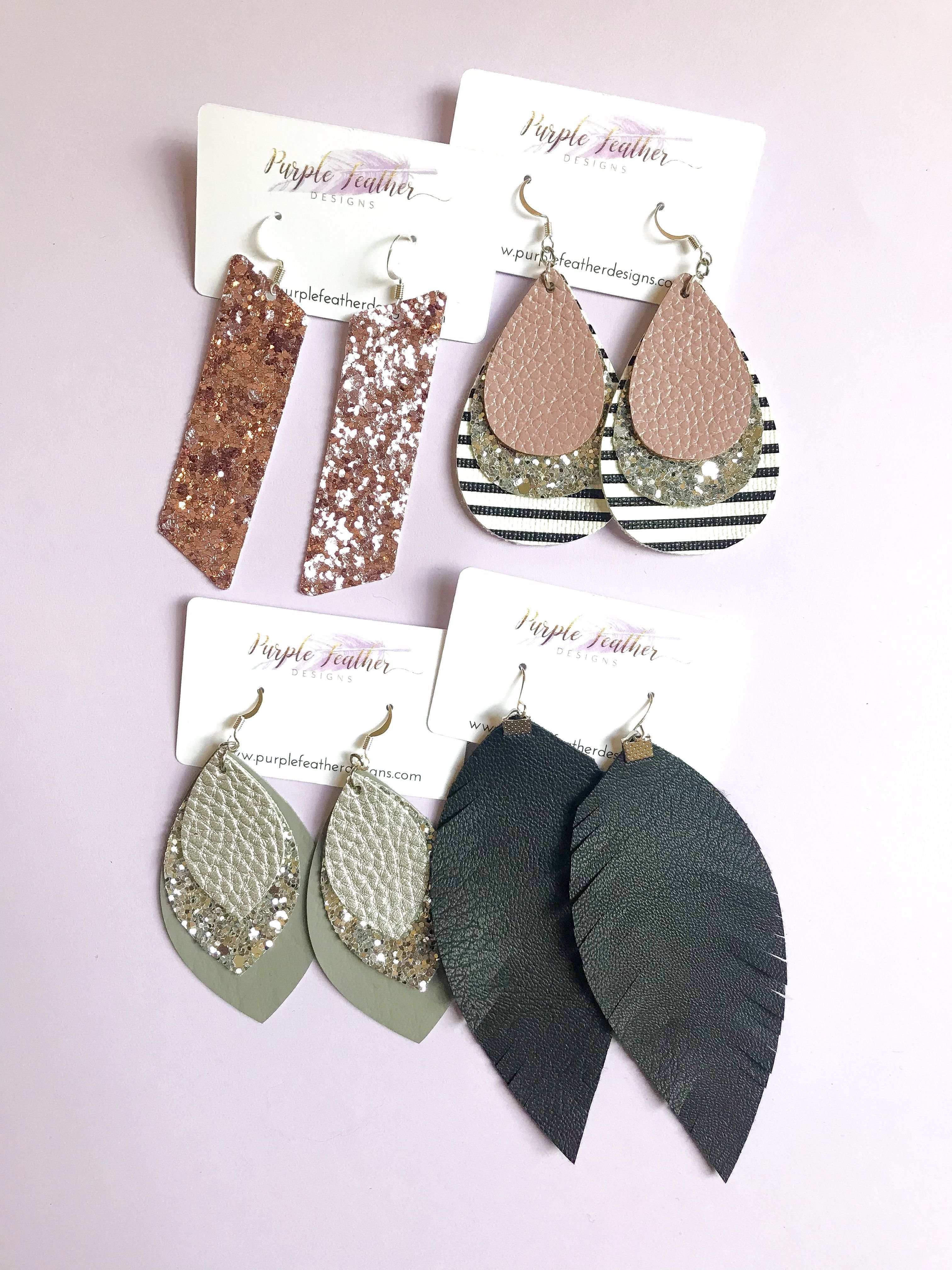 Photo of Lightweight Faux Leather Jewelry | Shop Purple Feather Designs Today