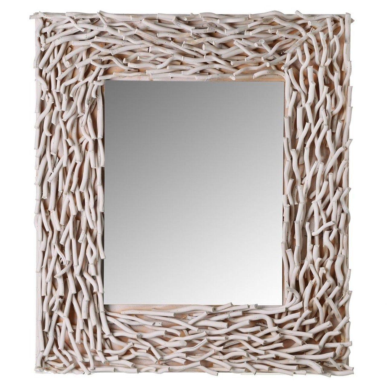 Espejo con #marco con #ramitas #blanco. Con este #espejo #envejecido ...