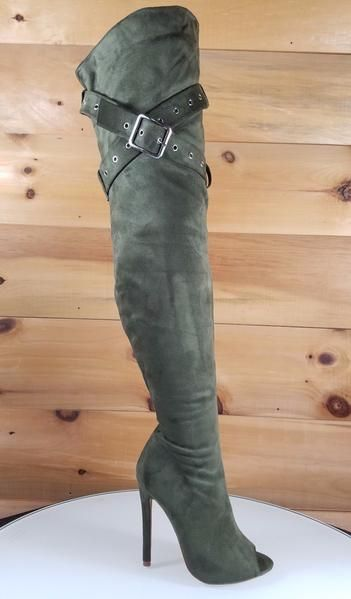 39829f363523 Over the knee boots feature a open toe silhouette on a sexy 4.5