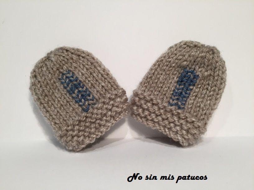 Manoplas bebe tejidas con dos agujas, utilizando las técnicas del ...